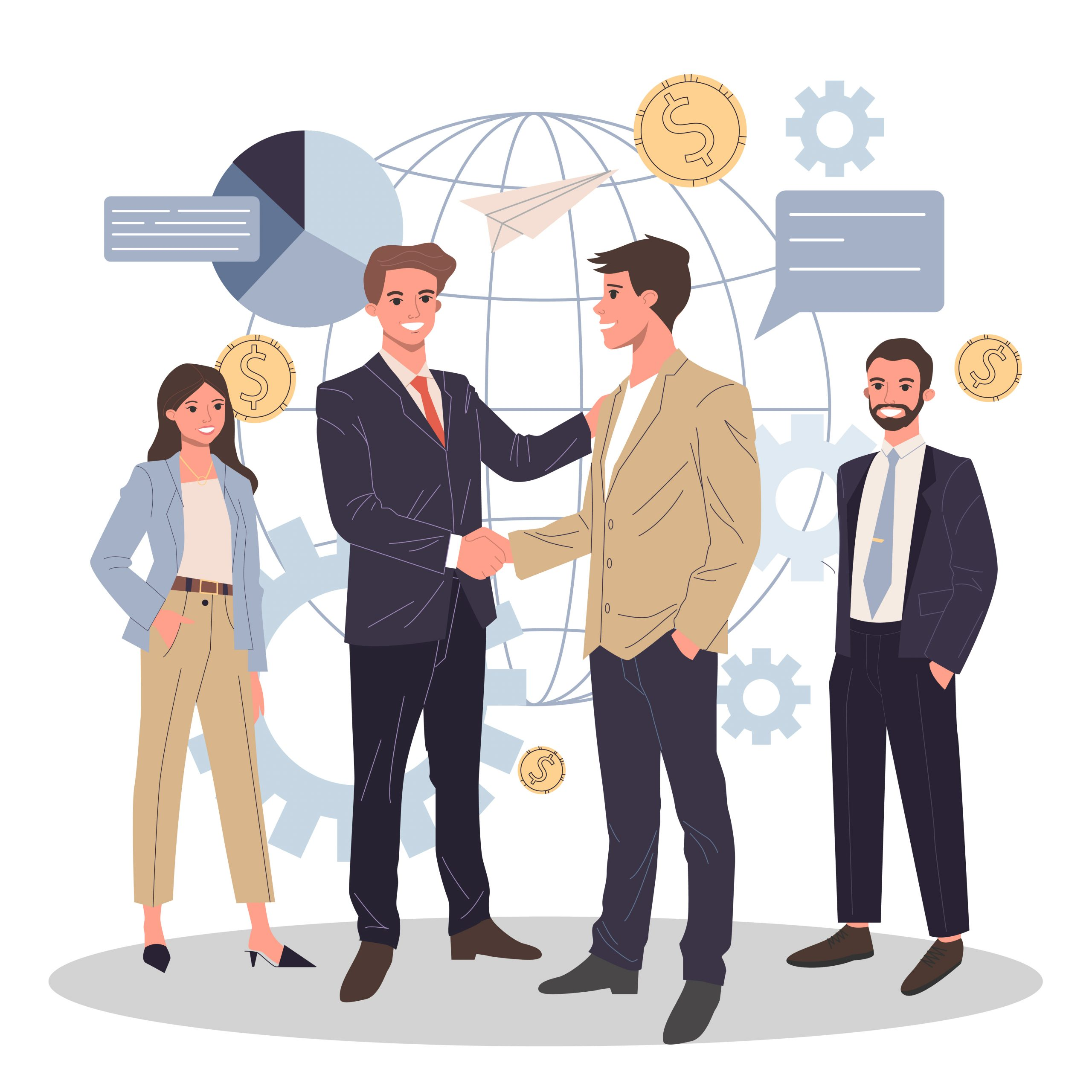 Global business partnership flat vector illustration. International teamwork, negotiation and success concept. Two partners shaking hands and making agreement.