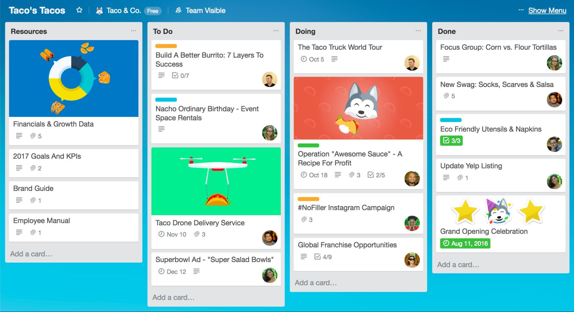 trello software/app dashboard