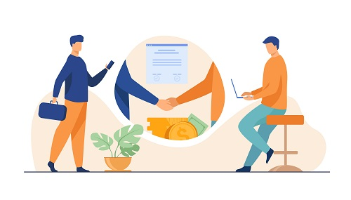 Business partners handshake. Business people shaking hands with each other over stack of money, closing deal. Vector illustration for startup, partnership, trust, investment, finance concept